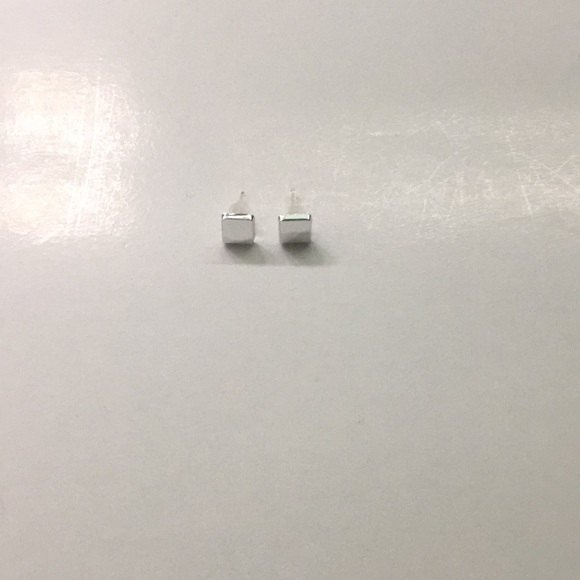 Jewelry - Dainty Square Silver Plated Stud Earrings